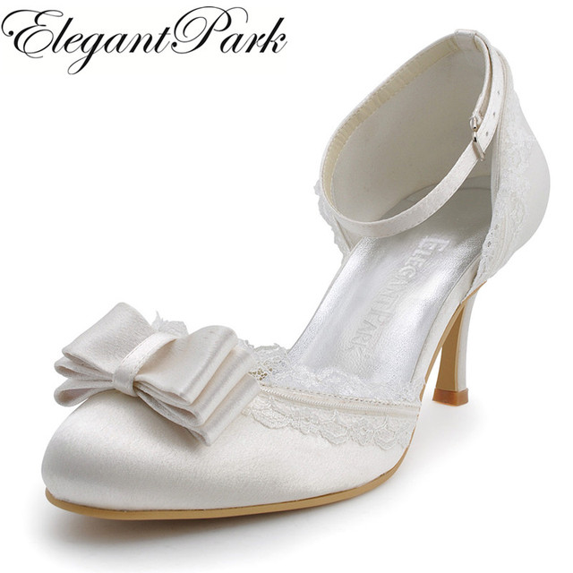 Sweet Girls Shoes A3202C Ivory White Woman Wedding Shoes with Bow Lace high  Heel ankle strap Satin Bride Lady Bridal Prom Pumps 1cb219193aa2