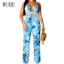 WUHE Sexy Hollow Out V Neck Spaghetti Strap Bodycon Jumpsuit Women Elegant Vintage Printed Casual Romper Woman Playsuit Overalls