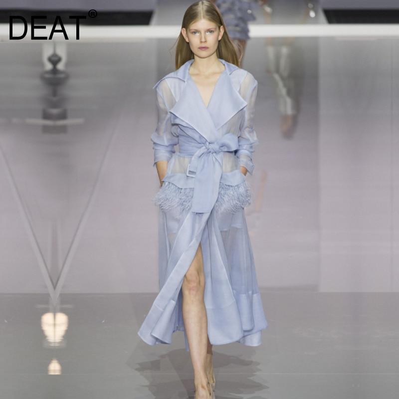 DEAT 2018 New Autmn Fashion Organza Women Clothes Turn down Collar Full Sleeve Transparent Feather Female