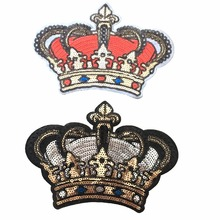 ФОТО 2pcs/lot crown 24 x 16cm sequins patches iron on stickers applique beading patch for clothes diy decoration scrapbook patchwork