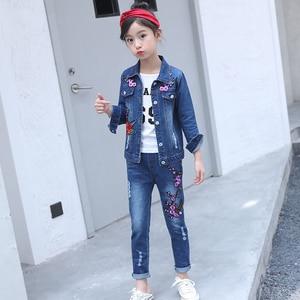 Image 2 - Abesay סתיו בנות בגדי רקמת ג ינס מעיל + מכנסיים 2 Pcs מקרית בנות בגדי סט חורף בנות בגדים 4 12 שנים