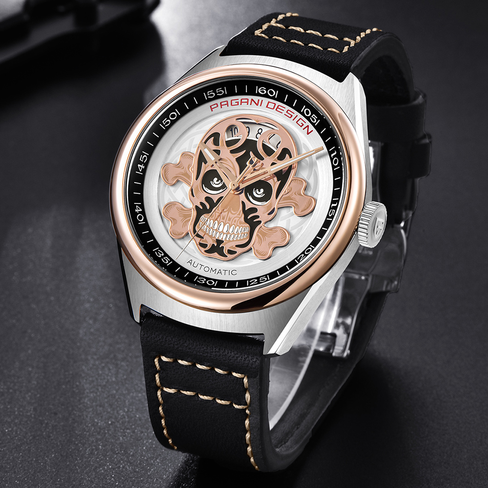 Pagani Automatic Mechanical Watches Men Top Brand Luxury Skull Watches Male Steel Watch Leather Wrist Watch Relogio dropshipping unique smooth case pocket watch mechanical automatic watches with pendant chain necklace men women gift relogio de bolso