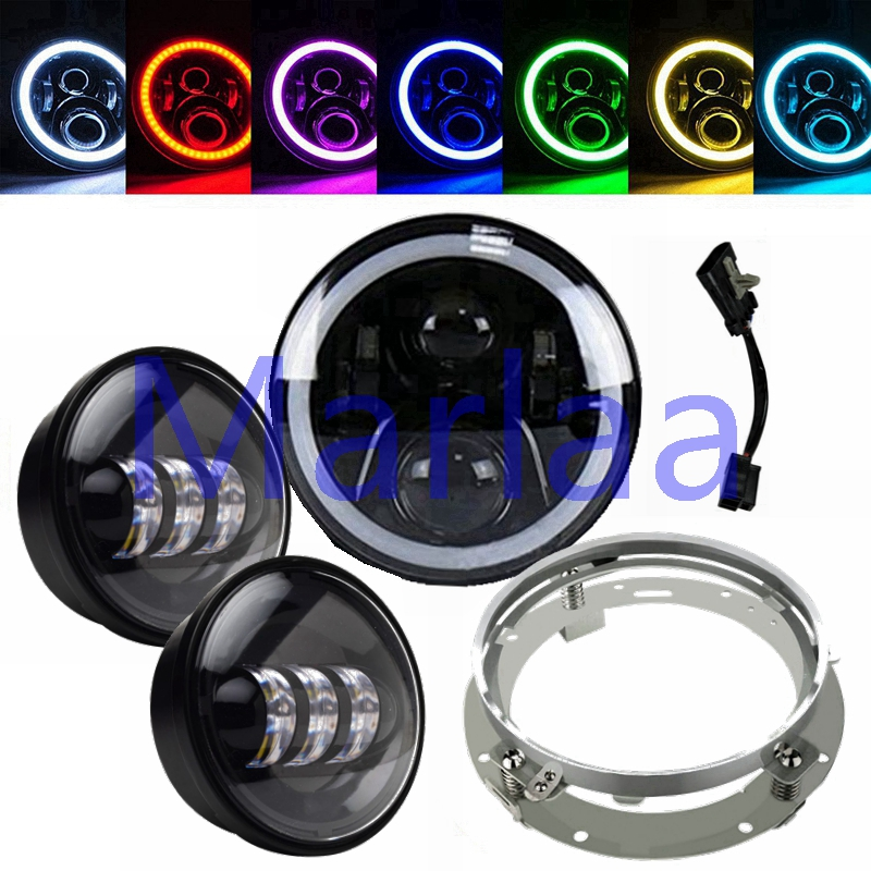 7 Motorcycle Daymaker RGB Led Headlight & Bracket + 2X Fog Lights For Harley Davidson Softail Heritage Touring Electra Glide 7 motorcycle daymaker rgb led headlight