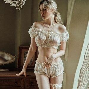 Image 1 - Vrouwen Sheer Sterren Ultra dunne Gaas Off Schouder Mouw Tops Shorts Been Ring Ondergoed Set Verleiding Sexy Pyjama voor lingerie
