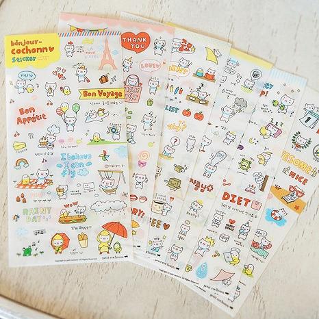 Bonjour Cochonn Sticker Bon Appetit Pink Pig Kawaii Cartoon PVC DIY Planner Scrapbooking Notebook Calendar Diary Stickers