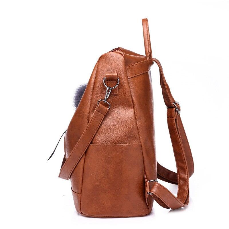 dd55e436bd brown À Le Feminina Daypacks Collège Simple Style L'école Casual Design Cuir  En Sac Dos Femmes Noir Mochila Pour HSBABq