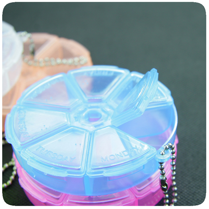 Portable Medicine Box 7 Days Weekly Pillbox Creative Rotating Pill Box Mini Plastic Storage Container Keychain Tablet Separator 5