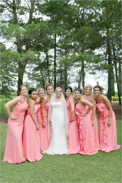 Coral Hot Pink Bridesmaid Dresses Chiffon Long 3 Different Styles ...