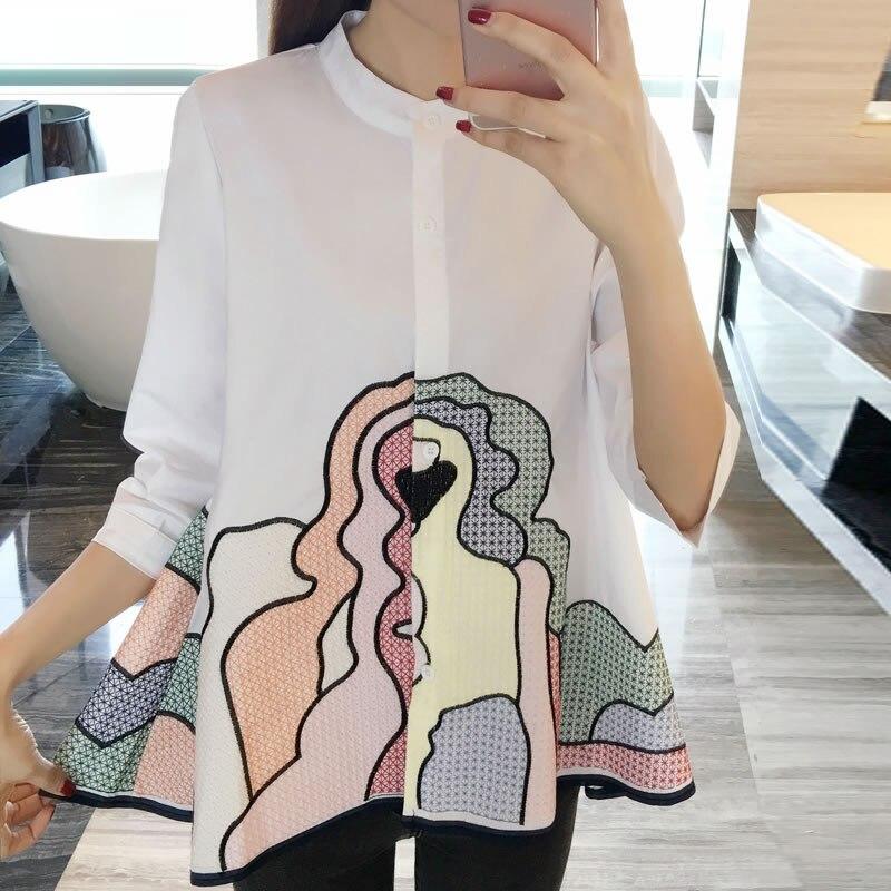 Cuello Las xitao Moda Blusa Dibujos Tres Camisa Primavera Animados White Cuartos Y De 2019 Chaquetas Mujeres Suelto Corea Dll2634 Casual Manga qgXrvgw