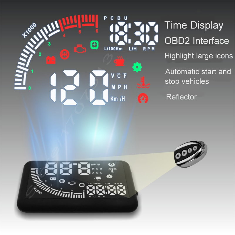 Car HUD Head Up Display Vehicle Speed Car Speedometer Overspeed Alarm Windshield Project Alarm System OBD2 Interface car speed projector on windshield auto hud head up display overspeed alarm safe driving obd2 digital car speedometer accessories