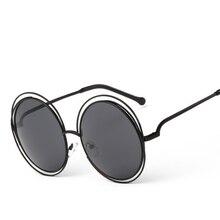 2019 Retro Sunglasses Women Round Frame Big Size Oversized lens Mirror Sun Glasses Brand Designer Metal Lady