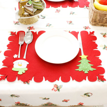 цена на Red Christmas Placemat Tablecloth Xmas Santa Claus Snowman Pattern Tablecloth Home Table Decorative Accessories