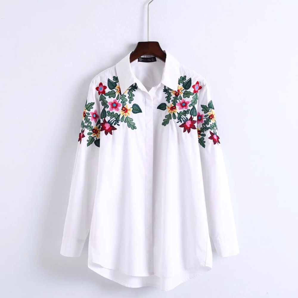 YSMILE Y Women New Clothes Loose Style Fashion Full Sleeve Embroidery Floral Turn Down Collar Long White Blouses Shirts HY007