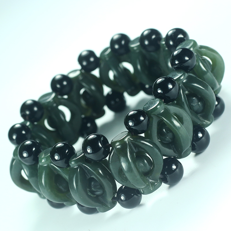 Natural Hetian Bracelet Chinese Hand-Carved Hollow-out Hand String Bracelet Bangles Men's Jade Jewelry