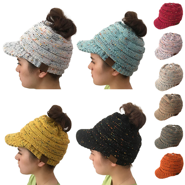 3d5033aba02 2018 Ponytail Beanie Woolen Hat Visor Baseball Caps Messy Bun Women Hats  Winter Warm Knitted Cap Holey Beanies Crochet Hats