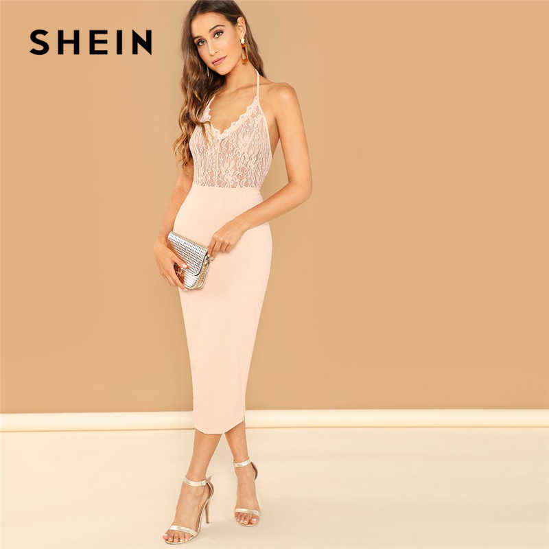 1e82b5d708ed SHEIN Pink Sexy Club Backless Eyelash Lace Bodice Bodycon Halter Natural  Waist Solid Pencil Dress Summer