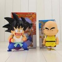 2 unids/lote 18-22 cm infantil Super Saiyan Dragon Ball Z Goku Krilin acción PVC Figure modelo de juguete para niños juguetes