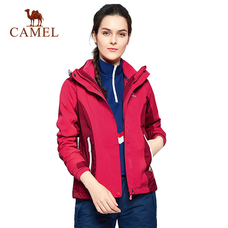 camel outdoor jacket 3 in 1 women windproof waterproof jacket female camping hiking jackets rain windstopper windbreaker CAMEL Women's 3 in 1 Outdoor Jacket Windproof Waterproof Thermal Breathable Camping Hiking Trekking Rain Female Tracksuit