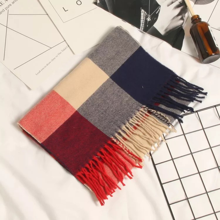 Осенне-зимний детский шарф, британский клетчатый высококачественный теплый мягкий шарф из искусственного кашемира, модный шарф для мальчиков и девочек - Цвет: TG-422 red blue