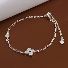 2016 Hot Sale Gift Anklet Silver Color silver plated fashion jewelry anklet for women jewelry/iVOBUBTTA