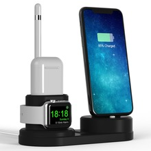 4 in 1 For iWatch Charger Stand Holder For Iphone X/8Plus/7/6/SE Silicone charging Dock Station For Apple watch/Airpods/pencil