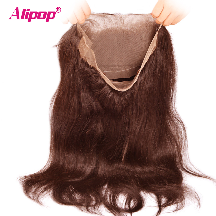 Preplucked 360 Lace Frontal Closure With Baby Hair #4 light brown Brazilian Straight Hair Pre Plucked Non Remy Human Hair ALIPOP