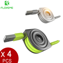 FLOVEME 4Pcs/Lot 2 in 1 Micro USB Cable+For Lightning To USB 1M Retractable Phone Charge Cables For iPhone X 8 7 For Samsung S8(China)