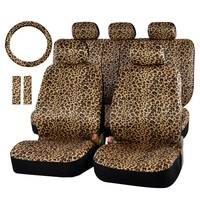 Luxury Leopard Print Car Seat Cover Universal Fit Seat Belt Pads And 15 Universal Steering Wheel Sedan Seat Protector For Fiat