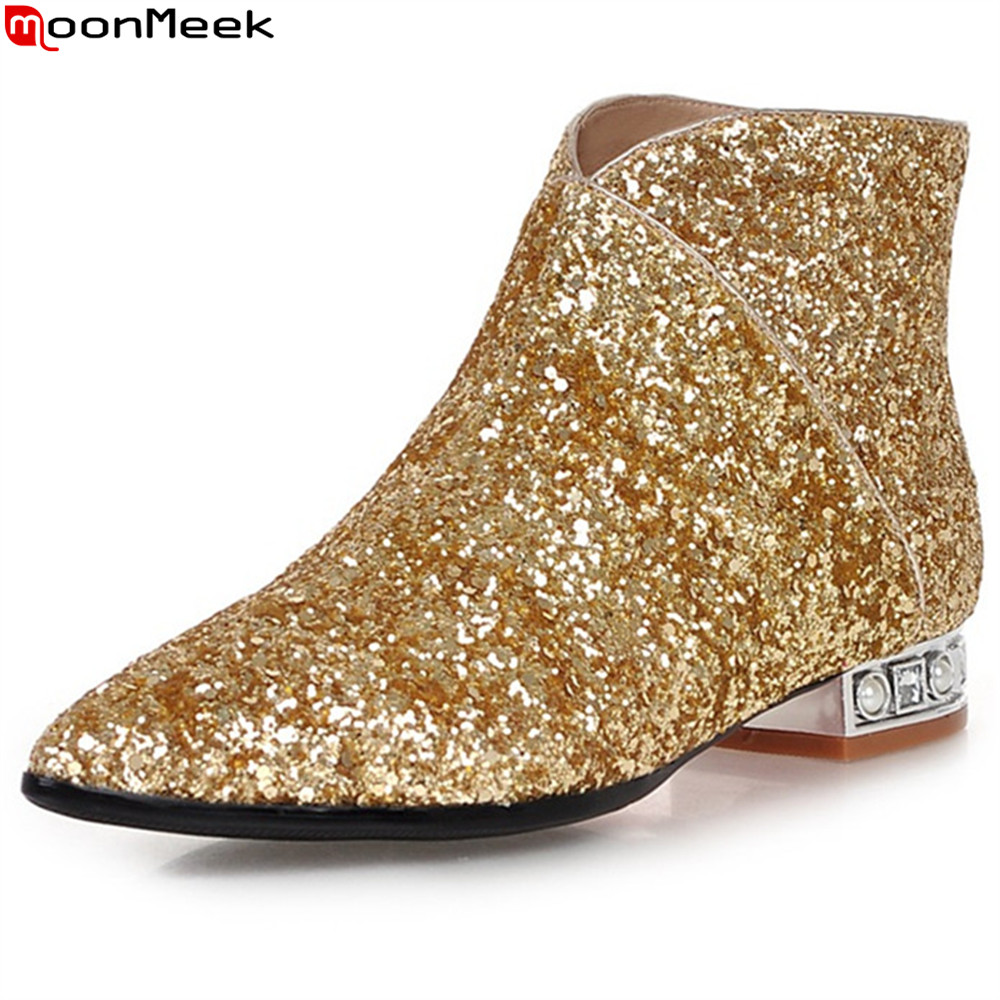 MoonMeek 2018 fashion new arrival women shoes pointed toe zipper ladies boots square heel bling low heel ankle boots big size new arrival women ankle boots square heel shoes women fashion footwear comfortable new designers zipper western ladies zapatos