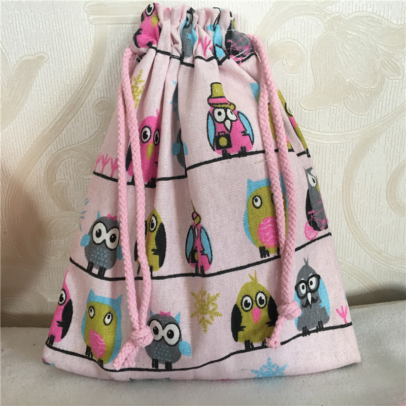 YILE Handmade Pink Cotton Linen Drawstring Multi-purpose Organizer Gift Bag Colorful Owls 8212c