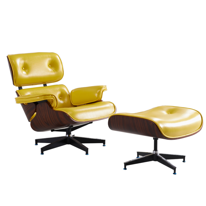 Mid Century Modern Classic Plywood Design Replica Style Chaise Lounge&Ottoman With High Grade Yellow Leather Lounge Chair