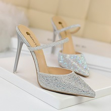 basic mules classic pumps women shoes High heels colored diamond crystal thin pointy hollow rhinestone wedding sexy