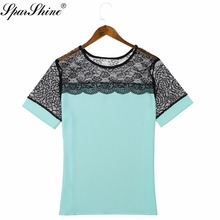 Plus size women tops Green lace chiffon blouse shirt white black pink blue short sleeve summer korean office female clothing