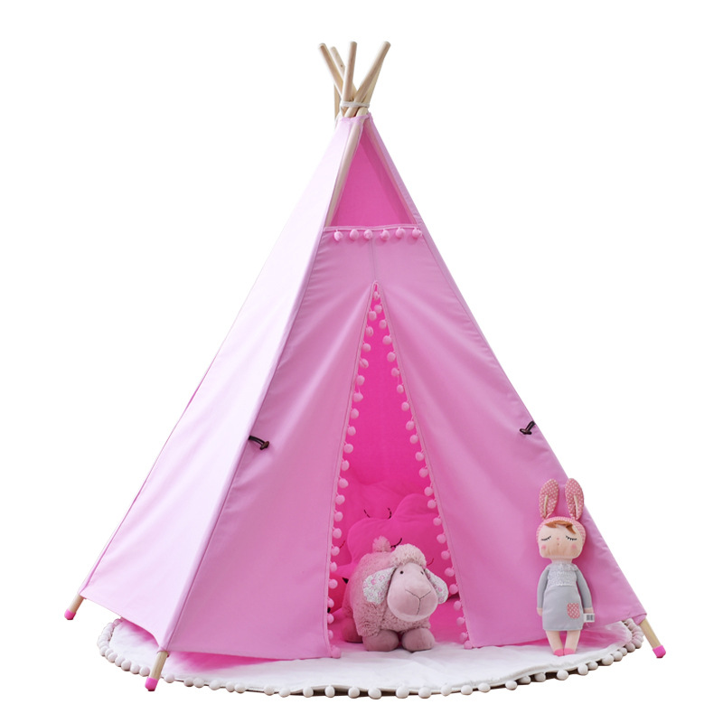 Children tipi pink lace indian <font><b>tent</b></font> 5 wooden poles kids playhouse canvas cotton teepees playhouse for baby room princess castle