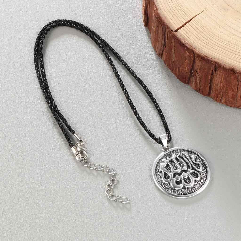 Cxwind アラビア語のイスラム教徒神アッラーの魅力ラウンドヴィンテージペンダントネックレスの宝石類のギフトロープチェーン男性ジュエリー