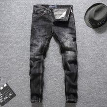 купить Italian Designer Men Jeans Black Color Top Quality Slim Fit Cotton Classical Jeans Balplein Brand Ripped Jeans Men Long Pants дешево