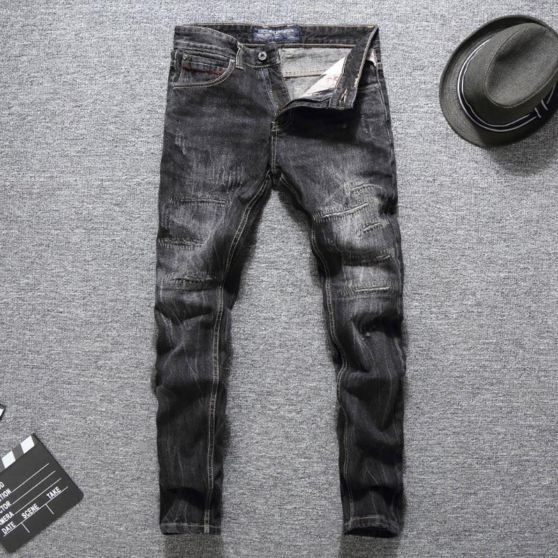 Italian Designer Men Jeans Black Color Top Quality Slim Fit Cotton Classical Jeans Balplein Brand Ripped Jeans Men Long Pants