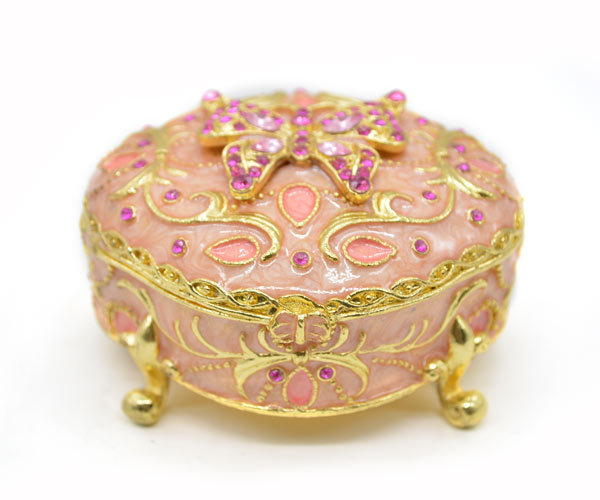 Free Shipping Pink Butterfly Round Metal Jewelry Box Wedding