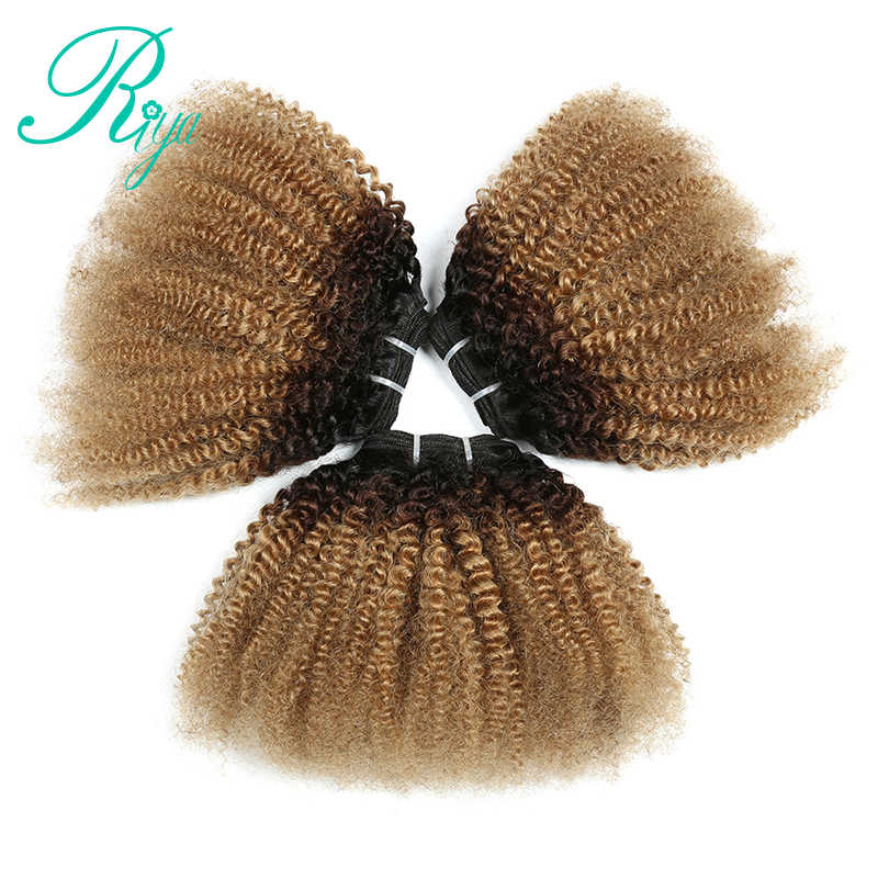 1B 4 27 Color 4B 4C Pattern Mongolian Afro Kinky Curly 3 Bundles 100% Human Hair Weave Ombre Remy Hair Extensions Riya Hair