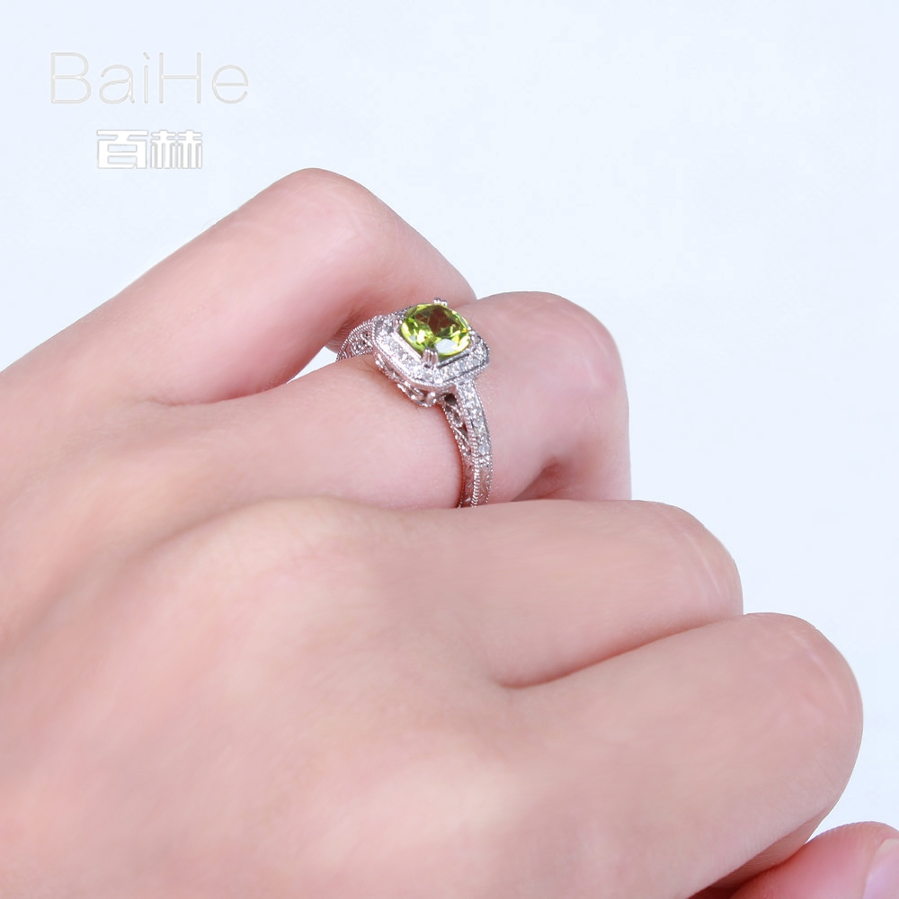 BAIHE Solid 14K White Gold(AU585) 0.841CT Certified Green Flawless ...