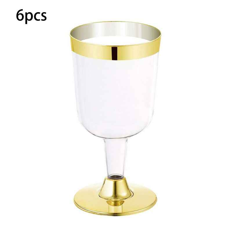 6 adet 180ML tek kullanımlık şarap bardağı altın yan Goblet plastik şampanya flüt kadehler düğün doğum günü partisi malzemeleri şampanya bardakları