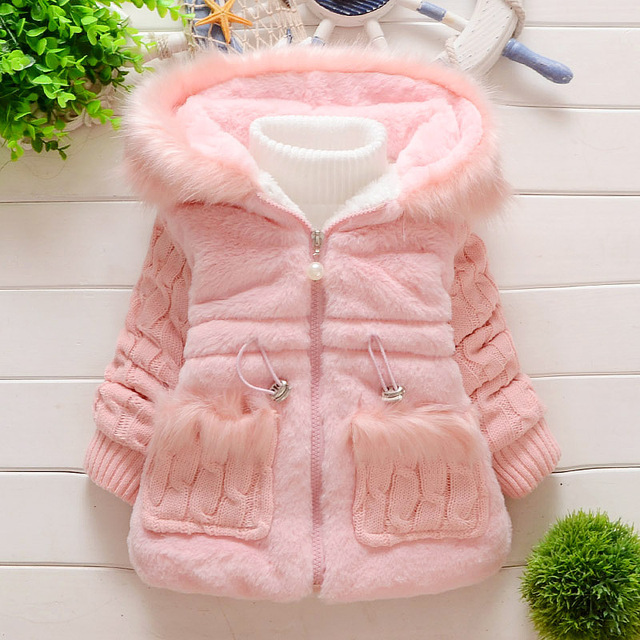583453f65e08 Baby Children outerwear jacket Girls Leopard faux fox fur collar ...