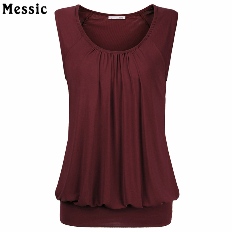 Messic Sleeveless Tunic Tops Pleated Loose Casual Tank Top Women 2018 Elegant Black Blue Knitted Tees O Neck Female Camisole