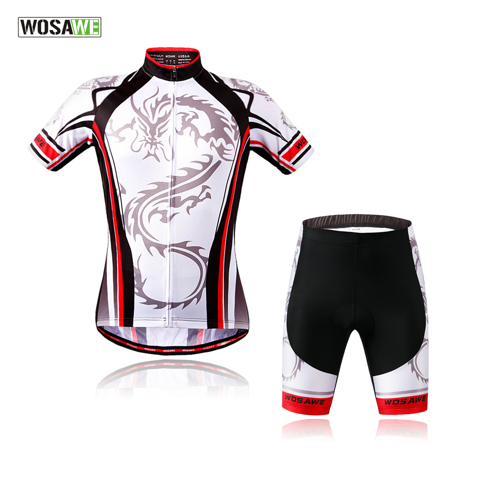 WOSAWE Pro Cycling Jersey Set Men's Short Sleeves Cycling Clothing Sportswear Breathable Mtb Bike Clothes Maillot Ropa Ciclismo