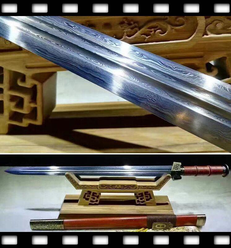 Analytisch Hoge Kwaliteit Chinese Wushu/kungfu Sword Han Jian Sharp Engroove Gevouwen Patroon Staal Sharp Volledige Tang Bladed