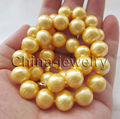 "10X10  jewerly free shipping  17.5 "" 12mm golden round freshwater pearl necklace - Fashion Picture clasp"