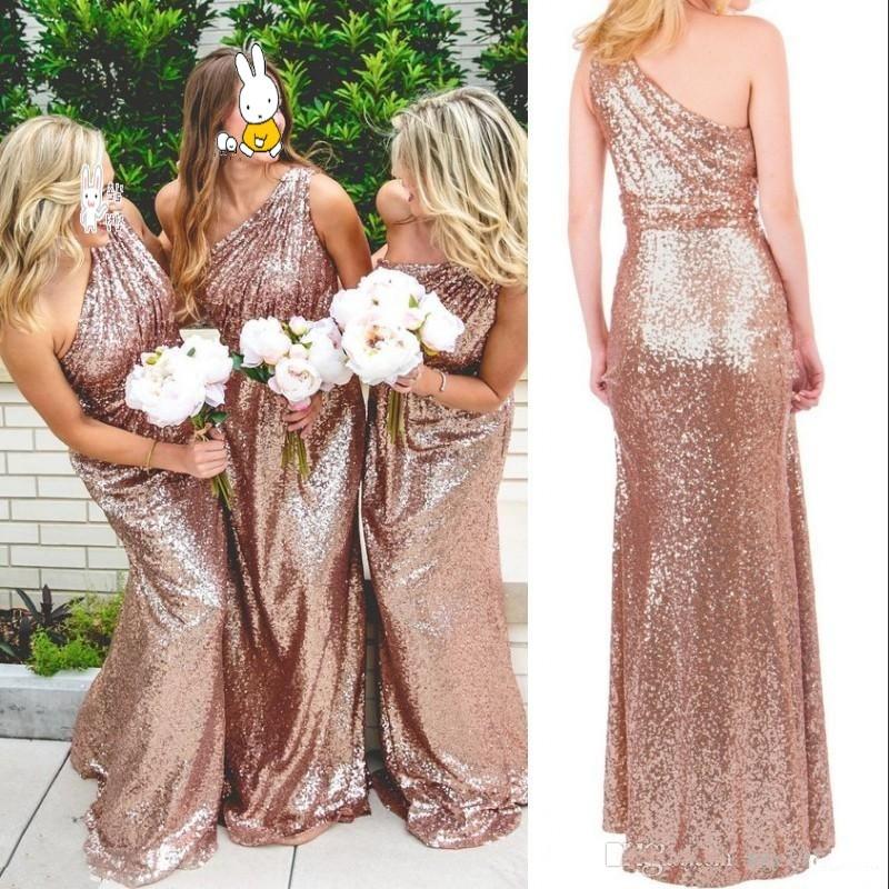 Rose Gold Sequins   Bridesmaid     Dresses   Sleeveless Elegant Long Wedding Guest Dreses   Bridesmaid   Gowns Mermaid 2019
