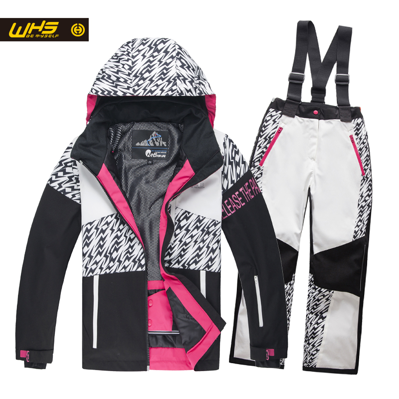 WHS 2016 New girls snow suits kid ski jacket teenage windproof coat girl skiing jacket in Winter 4 to 16 year jacket 2016 hot child girl winter outdoor ski snow windproof hiking warm jacket coat new