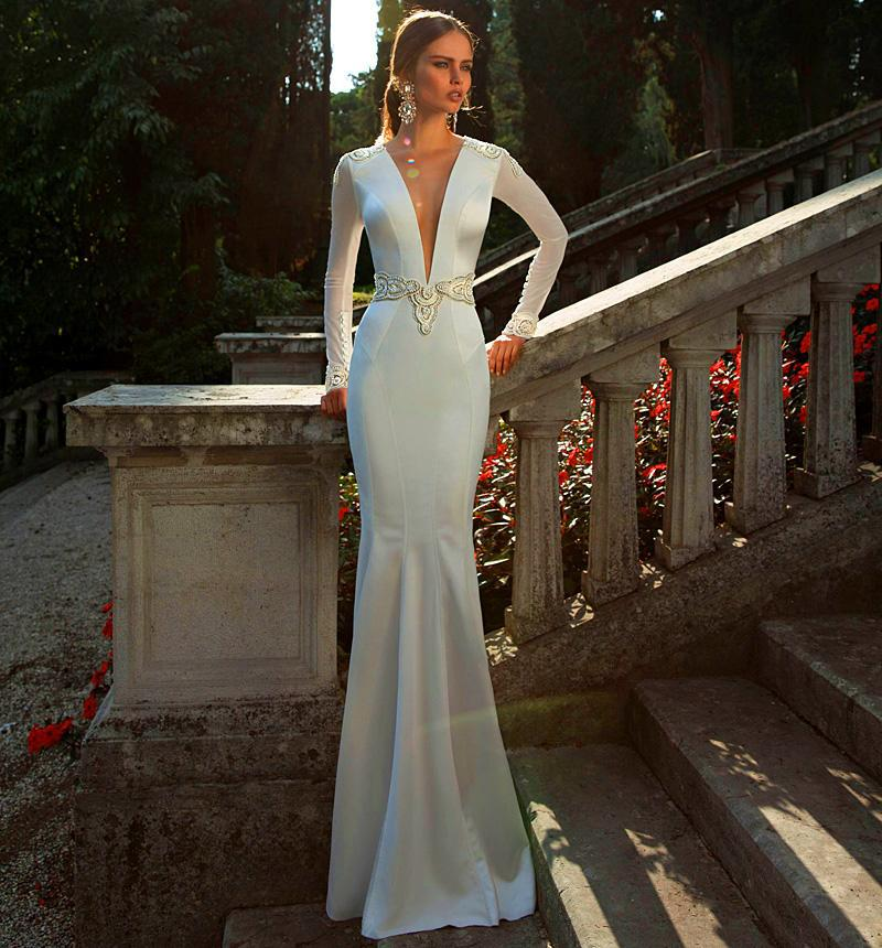 Fashion elegant sexy deep v neck mermaid wedding dresses for Beaded low back wedding dress