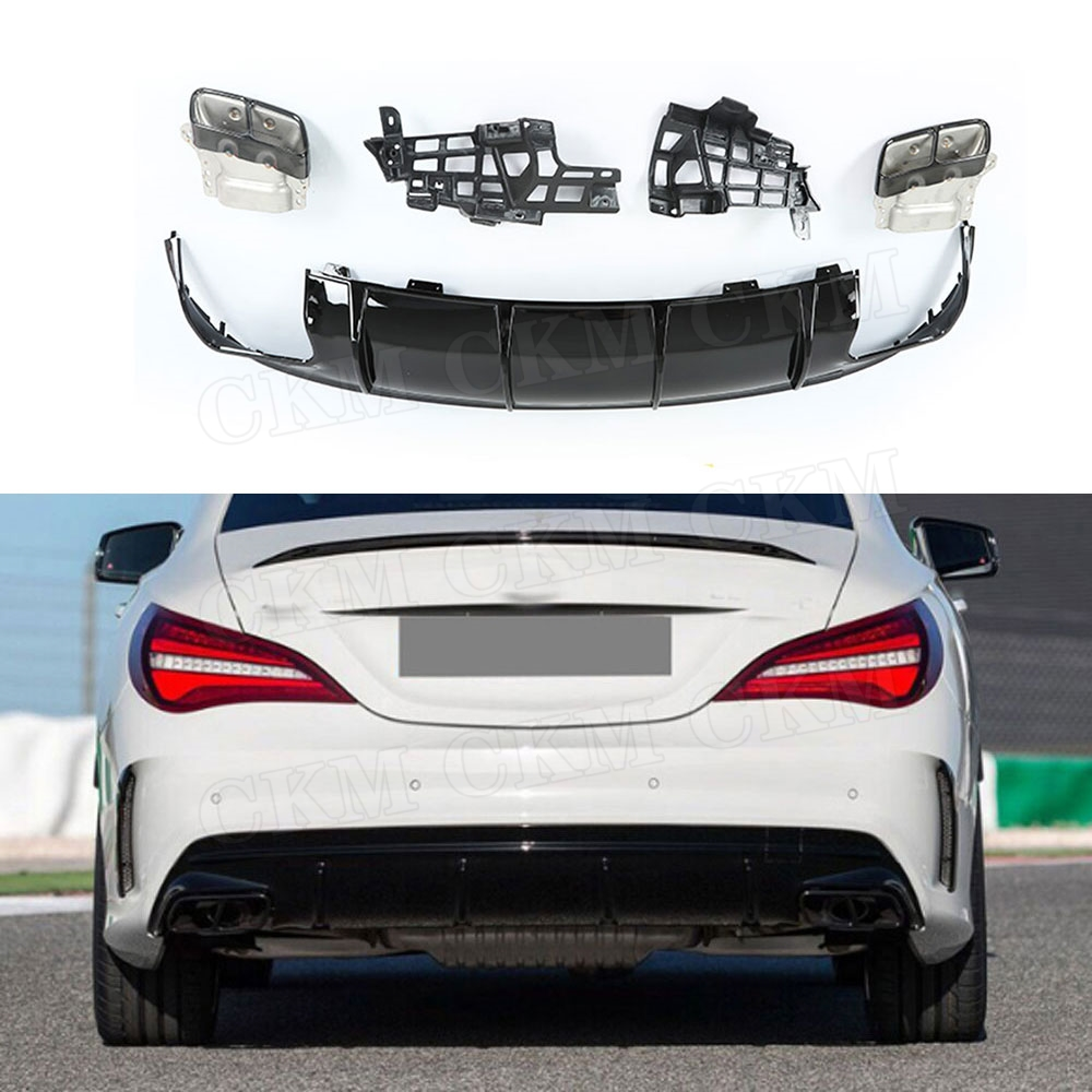 PP Rear Lip Diffuser with Exhaust Tips for Mercedes Benz CLA Class W117 CLA260 CLA45 2013-2018 Bumper Skid Plate